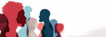 Group silhouette profile of men and women of diverse culture. Diversity multicultural people. Racial equality and anti-racism. Multiethnic society. Friendship.Community. Banner copy space Иллюстрация