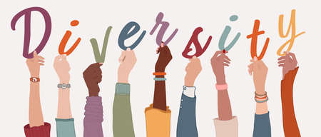 Raised arms of a group of diverse multi-ethnic international people holding the letters forming the word Diversity in their hands. Racial equality concept. Variety of people. Allyship