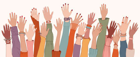 Raised hands and arms of multi-ethnic international multicultural women. Anti-racism racial equality concept. Allyship and sisterhood. Feminism. Women's community cooperation. Women's day Иллюстрация