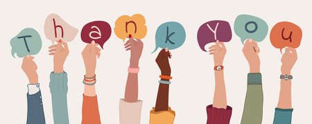 Group of arms and raised hands of diverse people holding a speech bubble with letters inside forming the text -Thank You- Gratitude between co-workers or friends.Appreciation.Community
