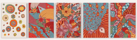Set of abstract creative artistic hand drawn templates. Trendy contemporary designs with flowers, plants and ethnic elements in vibrant colors. Suitable for cover wallpaper invitations