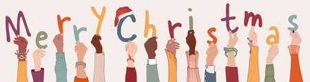 Raised arms of colleagues or friends diverse and multi-ethnic people holding letters forming the text -Merry Christmas- Banner happy Christmas holidays wishes. Racial equality. Community Иллюстрация