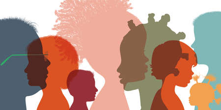 Heads faces colored silhouettes multicultural and multiethnic diversity children in profile. Kindergarten or elementary school education. Concept of study education and learning. Friends