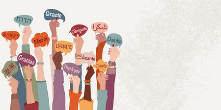 Raised arms and hands of multi-ethnic people from different nations and continents holding speech bubbles with text -thank you- in various different languages. Banner copy space. Equality