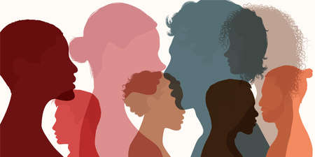 Silhouette heads faces in profile of multiethnic and multicultural people. Psychology concept. Solving psychological problems. Communication. Team community. Diverse people