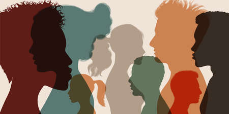 Psychology and psychiatry concept. Silhouette heads faces in profile of multiethnic and multicultural people.Psychological therapy.Patients under treatment.Team community.Diversity people