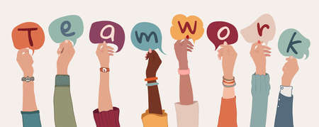 Group of arms and raised hands of diverse people holding a speech bubble with letters inside forming the text -Teamwork- Collaboration between colleagues or co-workers. Community. Banner Иллюстрация