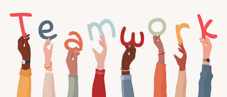 Group of arms and raised hands of diverse multicultural business people holding a letters forming the text -Teamwork- Collaboration between colleagues or co-workers. Community. Banner Иллюстрация