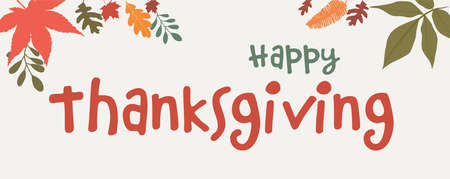 Vector illustration orange text -Happy Thanksgiving- with autumn foliage decoration and maple leaves. Thanksgiving Day. Banner Иллюстрация
