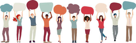 Group of multicultural and smiling young people of friends or coworkers colleagues - with raised arms holding blank speech bubble in hand. Communication and cooperation. Racial equality Иллюстрация