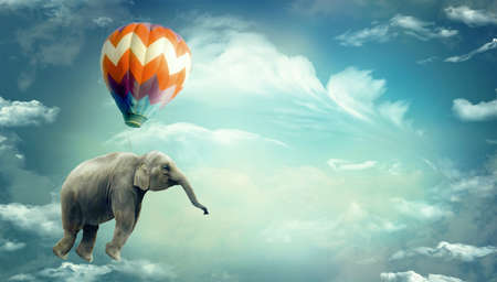 Huge Elephant floating or flying with air balloon with sky and clouds background. Fantastic surreal fantasy illustration. Freedom concept.Imagination.Surrealism. Dream. Banner copy space Фото со стока