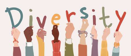 Raised arms of a group of diverse multi-ethnic multicultural people holding the letters forming the word -Diversity- in their hands. Racial equality concept. Variety of people. Banner Иллюстрация