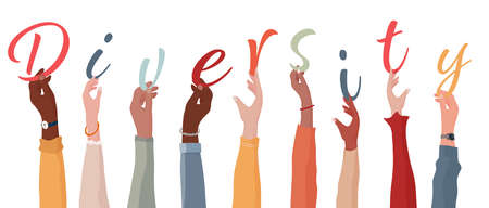 Raised arms of a group of people of diverse races holding the letters that form the word -Diversity-. Concept of racial equality and harmony between people.Community and teamwork.Isolated Иллюстрация