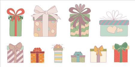 Set or collection cute hand drawn colored gift boxes in doodle style. Christmas gift box or for birthday and party and anniversaries or for the new year. Isolated vector illustration