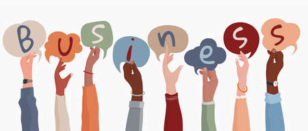 Group of arms and raised hands of diverse multicultural businesspeople holding letters with speech bubble forming the text -Business-. Communication via web. Teamwork. Community. Banner