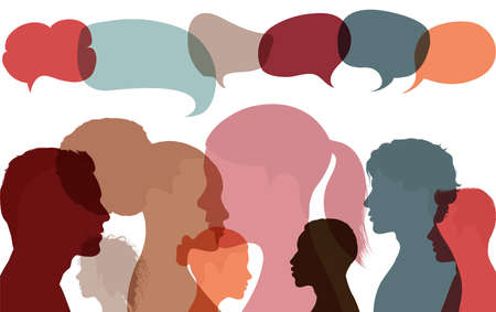 Silhouette heads faces of multicultural business people with speech bubble. Concept for expressing opinions evaluations and feedback. Communication and conversation between diverse people