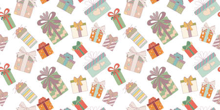 Seamless pattern. Cute hand drawn colored gift boxes in doodle style. Christmas gift box or for birthday and party and anniversaries or for the new year. Vector backdrop or background Иллюстрация