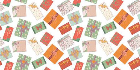 Seamless pattern. Cute hand drawn colored isolated gift boxes top view in doodle style. Christmas gift box or for birthday and party and anniversaries or for the new year. Vector backdrop Иллюстрация