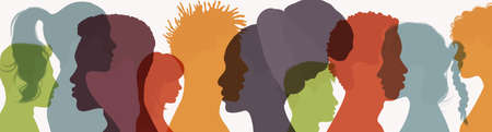 Abstract silhouette head face of several people in profile. Friendship between multiethnic and multicultural people. Community or teamwork concept. People diversity. Multiracial society