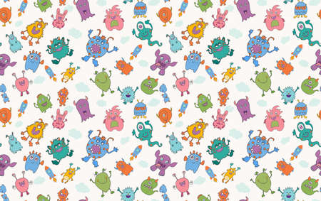 Cute character cartoon baby alien. Vector seamless pattern. Amusing baby beast. Bizarre and funny monster. Fantasy creatures.Funny colorful and hand drawn abominable beasts
