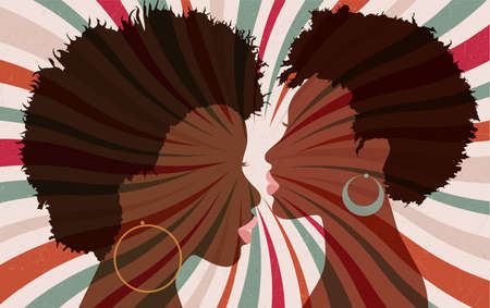 Portrait silhouette 2 faces of female African American profile women with funky hair and hoop earrings. Pop rock funky disco music. Retro style starburst background poster