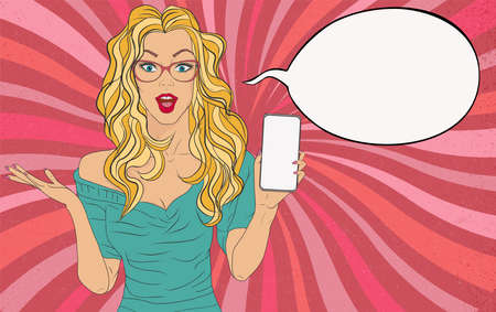 Surprised blonde female pretty naive woman with open mouth in pop art comic style holding a mobile phone for advertising or sales. Speech bubble copy space. Vintage retro style poster