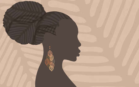 Face silhouette of ethnic African woman in profile with earring made of leaf shapes. Grunge textured background