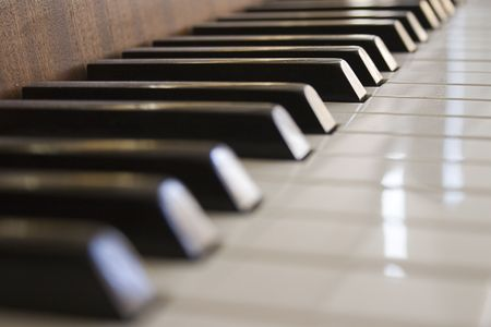 Details of a keyboard of a piano