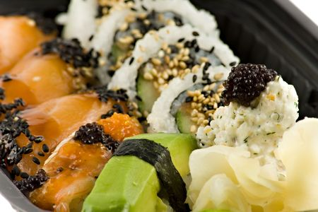 Close up picture of a sushi take-away meal Stock Photo