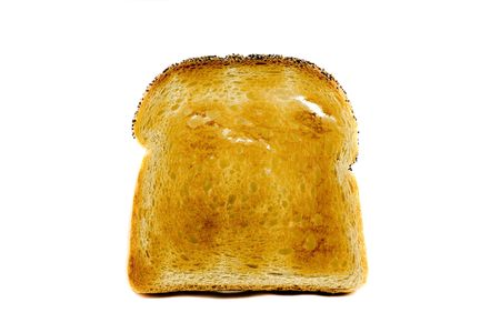 toasted: A singel slice of toasted bread isolated on white background