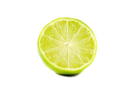 Sliced lime fruit isolated on white background photo