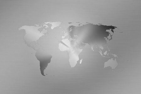 World map made like a logo on brushed metal Stock Photo
