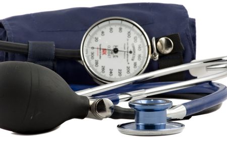 Blue Stethoscope & blood-pressure device isolated on white Stock Photo