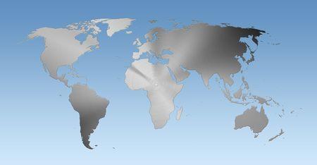 Metallic world map on blue background Stock Photo