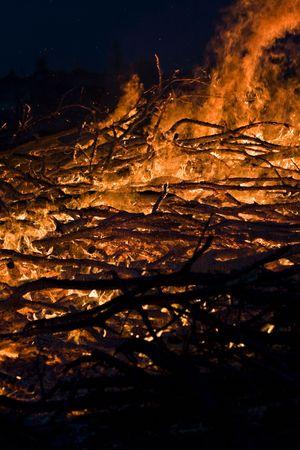 Big bonfire in the night Stock Photo