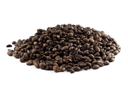 Nice pile of coffee beans isolated on white background Stockfoto