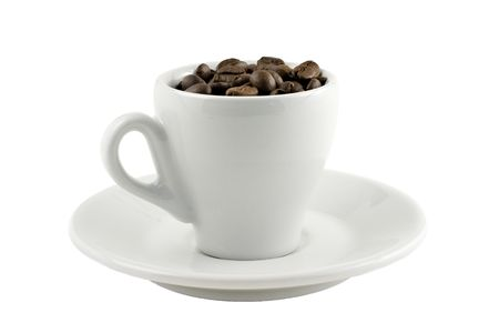 coffee cup with beans isolated on white background