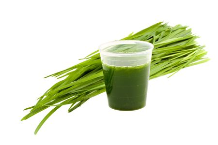 Wheatgrass drink & wheatgrass isolated on white background
