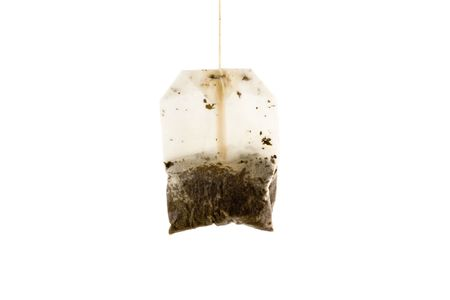 Used Tea bag isolated on white background