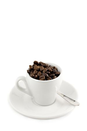 coffee cup with beans isolated on white with copy-space Stock Photo