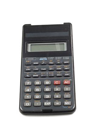 Used Calculator isolated on white background Stock Photo