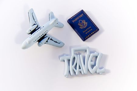 Travel Sign with toy plane and passport