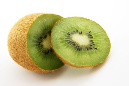 Kiwi Isolated on white with slice