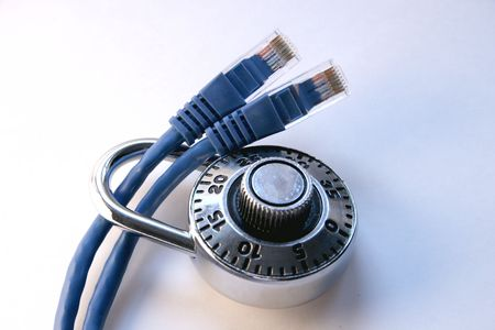 Padlock on two network cables Stock Photo - 251483