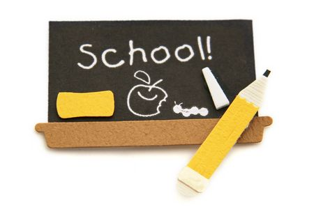 School Black Board with Pencil and school on the board Stock Photo