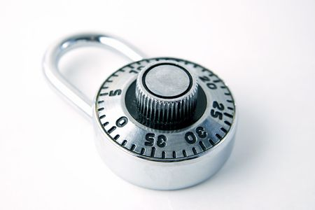 Closeup of locked padlock Stock Photo