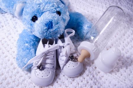 Blue  Bear and bottle Stock Photo - 310153