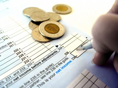 File your Taxes at tax time Stock Photo