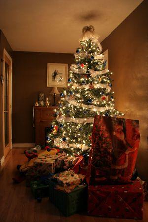 Kerst net na Santa kwam naar het huis