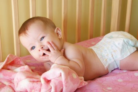 appealing attractive: Little Baby Girl in crib